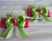 Pink Lime Green Hair bow Girls Polka Dot Bows
