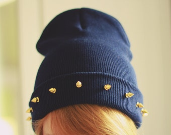 SALE -20% Studded spiked BEANIE Navy
