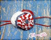 Red, Navy Blue, White Headband, Sailor Hair Bow, July 4th Hair Accessories, Fabric Flowers, Baby Girl Hair Bow, Hair Clip, Brooch