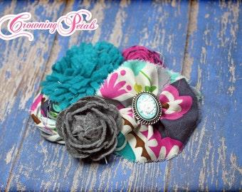 Fuchsia, Aqua, Teal Flower Headband, Hair Accessories, Girls Hair Bows, Turquoise, Grey Fabric Flowers Hair Clip, Baby Headband, Brooch