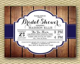 Rustic Bridal Shower Invite Navy Wedding Shower Invitation Country Western Bridal Shower Couples Shower, ANY EVENT, Any Color