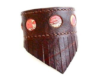 Buffalo Hide Fringed Leather Cuff, Bison Leather Jasper Stone Inlay Bracelet