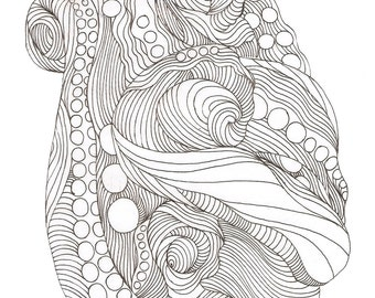 """Octopus Drawing - Dressed in Colors of Intrigue - Fine Art Giclee Print of 4""""x6"""" Linework Drawing"""