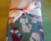 "Pink Grey  Burp Cloths ""Baby Fox"""