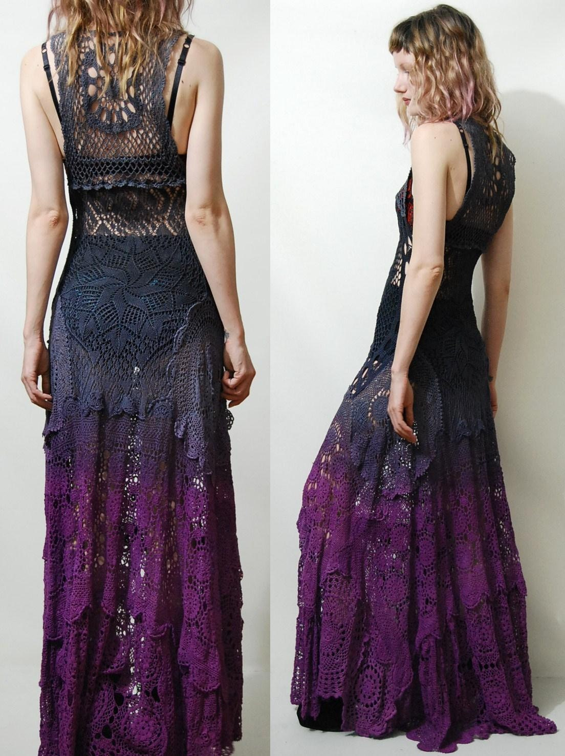 crochet dress vintage lace purple black ombre long maxi sheer. Black Bedroom Furniture Sets. Home Design Ideas