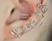 """Left Ear Cartilage Cuff No Piercing wire writing  """"LOVE"""" with a heart- fake piercing - silver plated"""