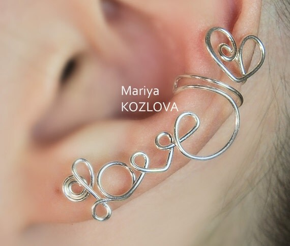 "Left Ear Cartilage Cuff No Piercing wire writing  ""LOVE"" with a heart- fake piercing - silver plated"