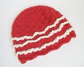 Organic Baby Hat, Crochet Baby Hat Baby Girl Beanie Spring Hat with Ruffles Berry Red and Vanilla Cream, Cotton, Newborn