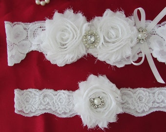 Wedding Garter, Bridal Garter, Garter -/White Garter Set with Pearl & crystal/ Rhinestone