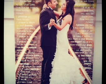 Wedding Photo on Canvas,  Personalized With Words, Engagement photo print, Wedding photo with Vows, First Dance Lyrics