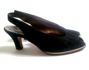 vtg PETER KAISER open toe slingback heels shoes  us7.5/  fr39