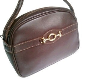 vintage EQUESTRIAN PURSE brown leather/ crossbody