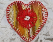 Heart  Brooch - embroidered and felted red daisy on yellow
