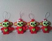 Christmas Monkey, Set of 4, Ornaments, Eco Felt, Embroidery, Nursery Decor, Gift, MADE TO ORDER