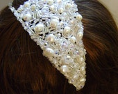 Ivory Lace & Freshwater Pearl Side Tiara