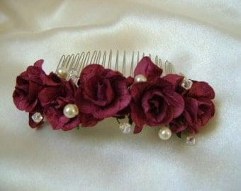 Burgundy Wild Rose Comb - Bridesmaid