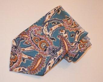 Christian Dior Tie, Vintage Necktie, Designer Tie, Men's Turquoise and Tan Tie, Vintage Silk Necktie
