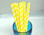 50 Pack Yellow Striped Paper Straws, Party straws Yellow and White Striped, Food Safe Paper Drinking Straws, Paper Party Shower Sip Sticks - wrappingmeup