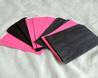 100 5x7 inch Hot Pink and Black Paper Bags, Paper Party Bags, Paper Merchandise Bags, Gift Bags, Wedding Bags, Bridal Bags, Craft Bags