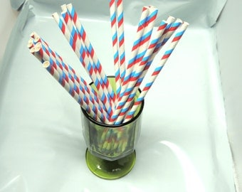 50 Pack Red and Blue Striped Paper Straws, DR. suess Colored Party straws, Food Safe Paper Drinking Straws, Paper Party  Sip Sticks