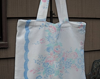 Vintage Fabric Market Bag, Tote Bag, Made from Vintage Tablecloth, Repurposed Linen