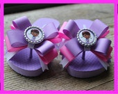 Doc Mcstuffins flip flops with bows any size on purple shoes