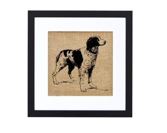 Brittany Spaniel Burlap Art by Fiber and Water