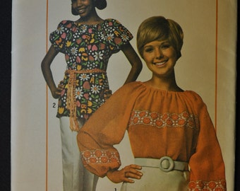 Misses' Super Simple Blouse with Raglan Sleeves Size Medium 12 & 14 Vintage 1970s Sewing Pattern Simplicity 9231