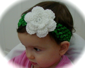 Stretchy green HEADBAND with crochet white flower size from newborn baby to older girls st patricks day photo prop