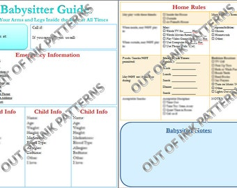 Babysitter Guidelines Printable with Instrucstions- PDF