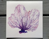 SALE! Cool Sea Fan Watercolor Painting- square original beach cottage art, decor- violet, purple, lavender, mauve, pink. coral nature finds