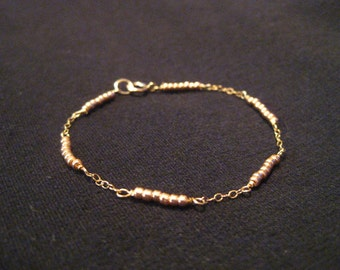 Rose Gold - Tiny Beaded Dash Bracelet