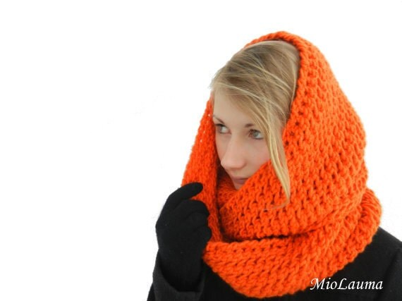 Orange Hand Knitted Tube scarf - Infinity Scarf - Circle Scarf  - winter accessory - head wrapped scarfarf