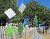 Garland- Diamond  light Green and Silver Holidays, Birthdays, Weddings, Showers, Parties 7 Feet