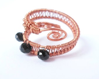 Adjustable wire wrapped beaded copper ring