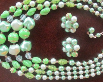 1950s mint  green beaded necklace and earring set, 4 strands