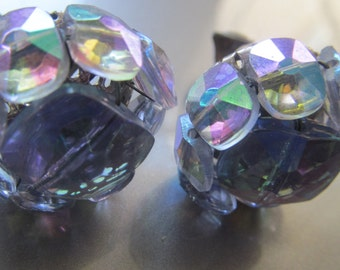 IRIDESCENT blue and purple Vogue earrings