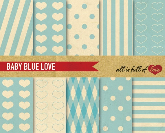 Digital SCRAPBOOKING Paper Pack Retro Baby Blue LOVE Valentines patterns with INSTANT Download Valentines Paper