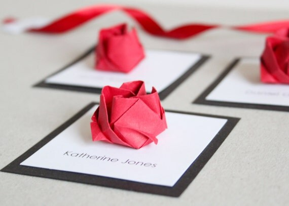 Origami Wedding Invitation: Items Similar To Wedding Origami Rose Square Place Cards X
