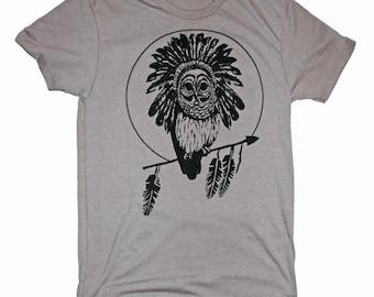 Men's Hawaii Grey Owl Pueo Head Dress Feathers Native American Hawaiian T-Shirt