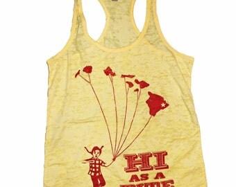 Women's HI as a Kite Retro Hawaiian Islands Tank Burnout Racerback Shirt Vintage Revival