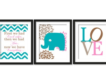 First we had each other,then we had you, now we have everything, elephant print, nursery decor, dalhia, blossom, love, typography, colourful