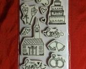 Engagement - Bridal Shower - Wedding Theme Rubber Stamps - Set of 15 - heidi grace designs