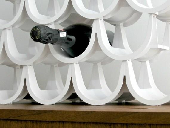 Vintage Modern Modular White Plastic Wine Rack Nos Unused 20