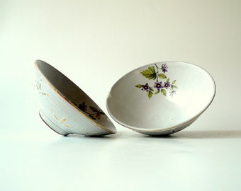 Ceramic Bowl in Cream White with Purple Flowers and Touches of Gold (medium), Shabby Chic by Cecilia Lind, StudioLind