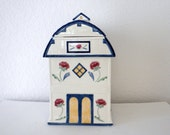 Lenox Cookie Jar, Blue and White Barn with Red Flowers, Large Cookie Jar