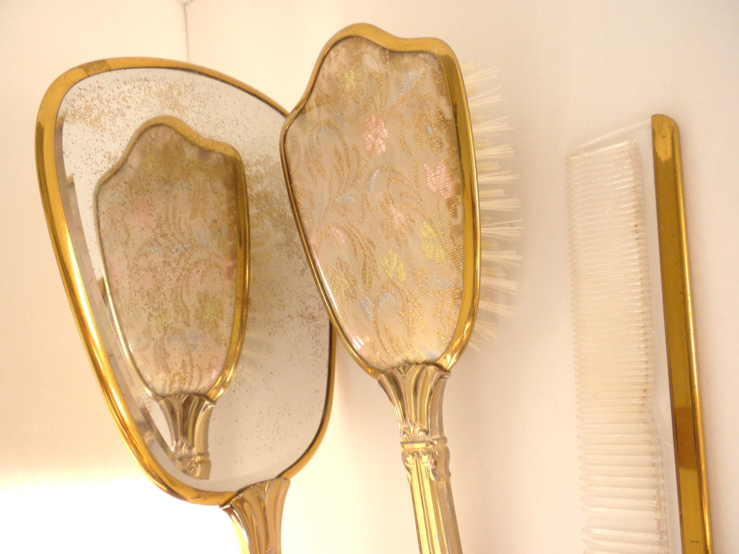 Vintage Hand Held Mirror Brush and Comb in Brass by oldandnew8