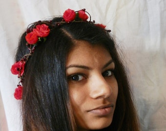 Woodland flower hair wreath (romantic deep red rose) - Wedding headpiece, headband, vintage inspired rose crown, french ribbon pip berries