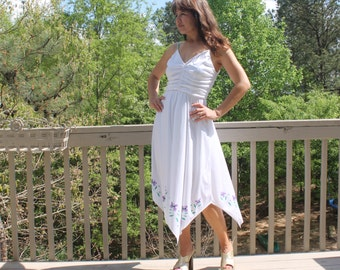 Vintage 70s White Hankerchief Disco Summer Dress