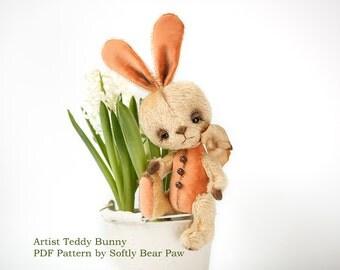Artist Teddy Bunny Pattern by SoftlyBearPaw  22cm ePattern PDF